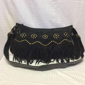 Nicole Lee Fringed Black suede Leather Studded bag